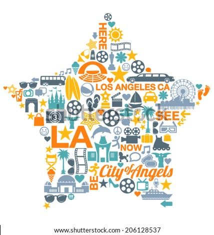 los angeles california icons