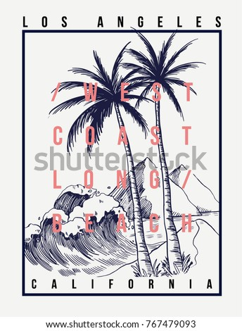 Los Angeles, California vector illustration for t-shirt and other uses.