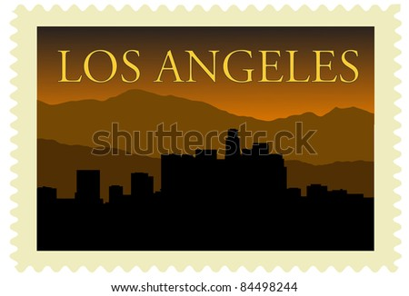 Los Angeles city high-rise buildings skyline on stamp.
