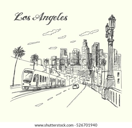 los angeles city scene hand...