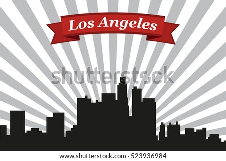 los angeles city skyline with