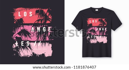 Los Angeles Malibu Lagoon stylish t-shirt and apparel trendy design with palm trees silhouettes, typography, print, vector illustration. Global swatches.