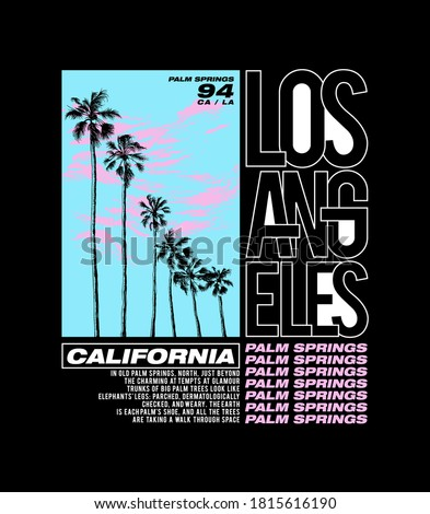 Los Angeles Palm spring poster art with palms and cloud illustration