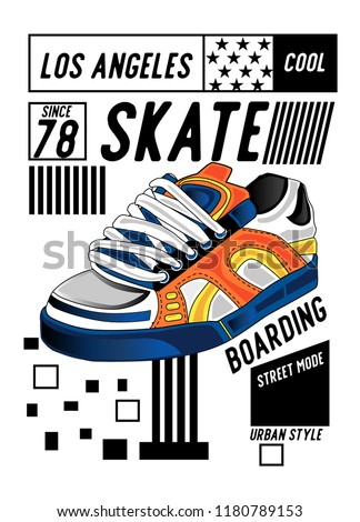 los angeles skateboarding shoes,t-shirt design
