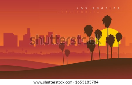 los angeles skyline during the