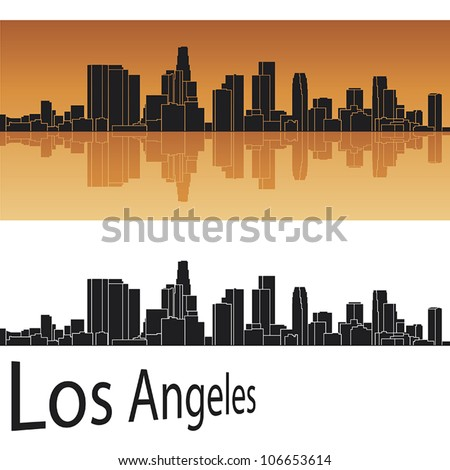 Los Angeles skyline in orange background in editable vector file