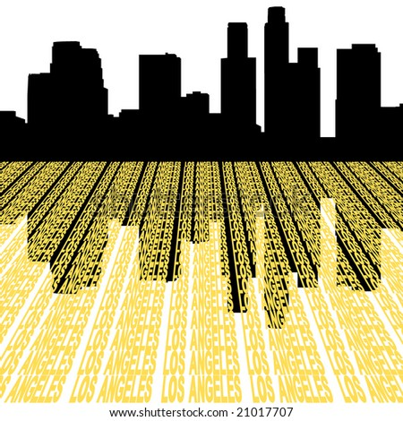 Los Angeles skyline reflected with text illustration