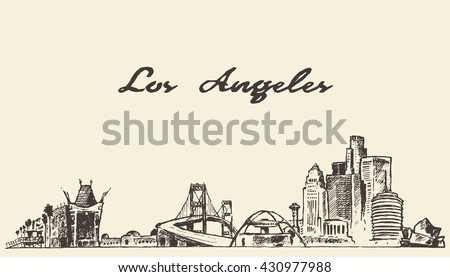los angeles skyline  vintage...