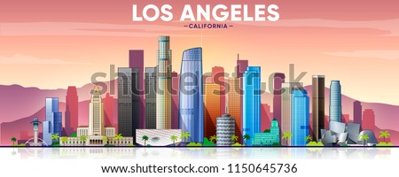 los angeles skyline with