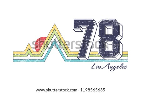 los angeles slogan for T-shirt printing design and various jobs, summer t-shirt printing. vector