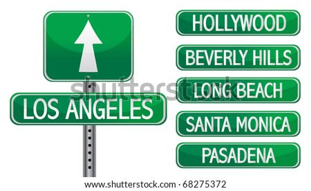 Los angeles street signs isolated over a white background