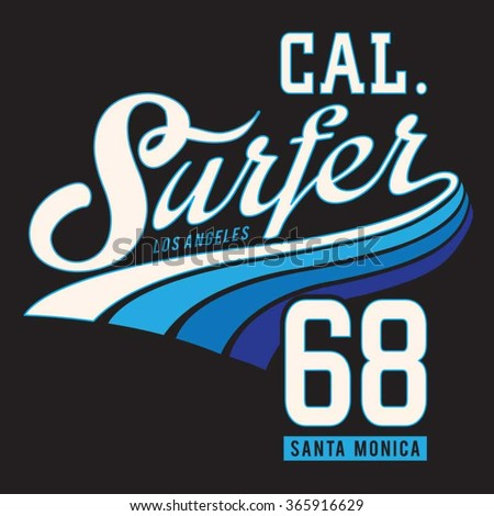 los angeles surf typography  t