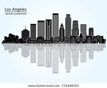 los angeles united states detailed city skyline vector illustration