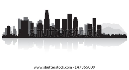 Los Angeles USA city skyline silhouette vector illustration