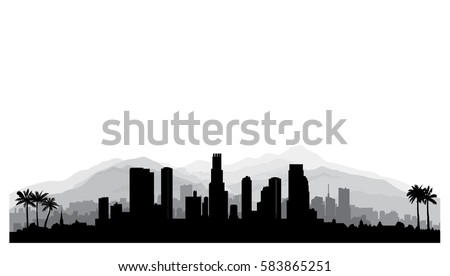 Los Angeles, USA skyline. City silhouette with skyscraper buildings, mountains and palm trees. Cityscape with famous american landmarks. Urban architectural landscape.