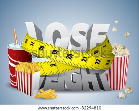 Lose weight text with measure tape and junk food - stock vector