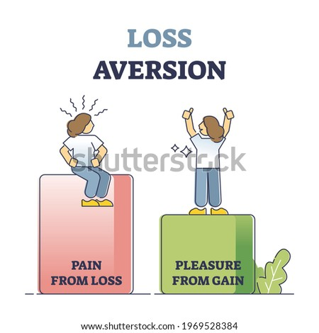 Loss aversion attitude as behavioral bias feeling comparison outline concept. Pain and pleasure gain uneven levels visualization as irrational psychological emotion in economy vector illustration. Foto stock ©