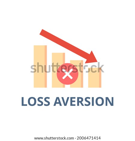Loss aversion vector. Behavioral finance and investing concept. Investment decision. Flat illustration on white background. Foto stock ©