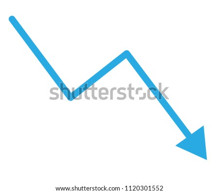 loss bar chart. decline arrow isolated on white background. trend decline graph sign.