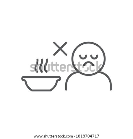 Loss of appetite line icon, diet and covid-19, coronavirus symptom sign, vector graphics, a linear icon on a white background, eps 10 Foto stock ©