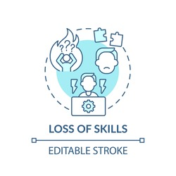 Loss of skills concept icon. Employees losing experience in quarantine idea thin line illustration. Global economic crisis. Vector isolated outline RGB color drawing. Editable stroke