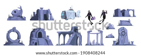lost atlantis cartoon icons set