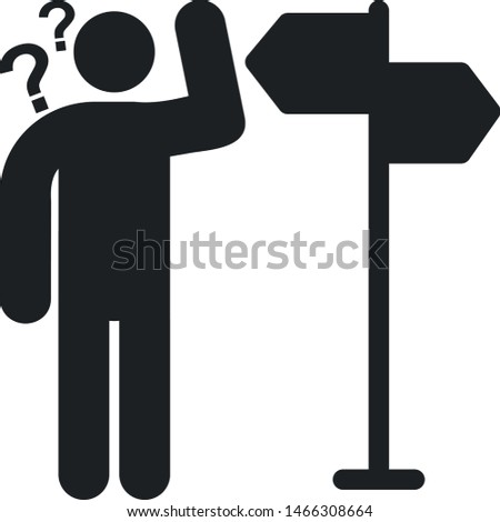 Lost directions icon. Man near direction symbol.