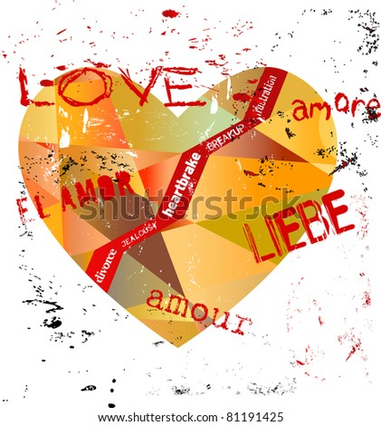 lost love concept, heart with various writings,  vector