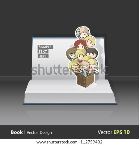 Lot of kids inside a box on a Pop-Up Book. Vector background design.