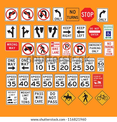 Lot of traffic sign