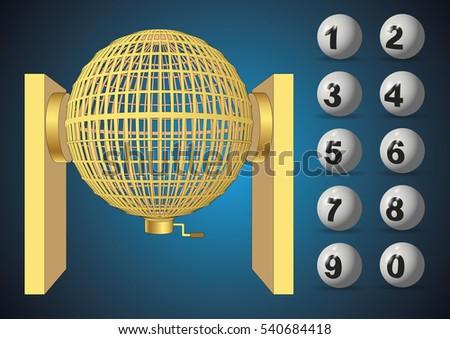 Loteria Nacional bombo. National lottery cage with balls.  Foto stock ©