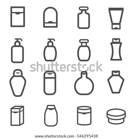 lotion cream cosmetic bottle set vector