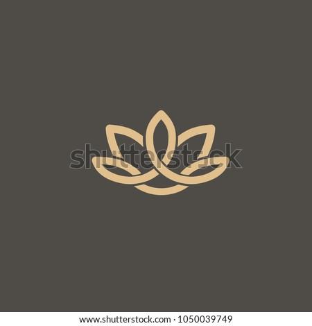 Lotos logo. Wedding icon. Luxury retro celtic emblem. Cosmetics, Spa, Beauty salon, Decoration, Boutique vector logo. Royal Jewelry, Yoga, Premium Logo. Scottish, Geometric design illustration.  Foto stock ©