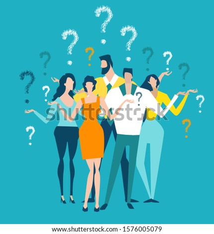 Lots of business people with question marks. Uncertainty of the future, doubts and instability of modern days. Concept illustration