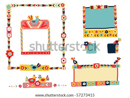 Lots of cute frames and elements in a colorful, folk inspired style. - stock vector