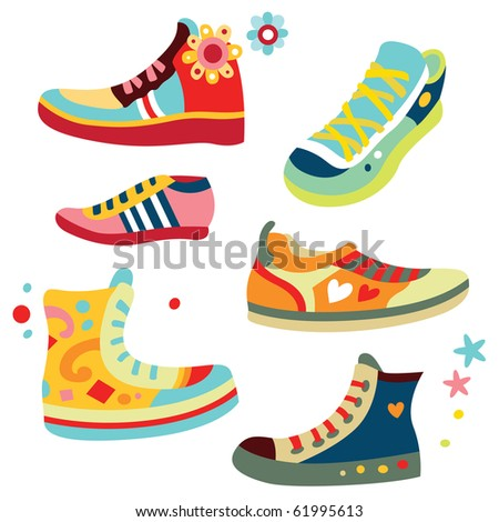 Lots Of Cute Sneakers With Bright Colors. Stock Vector ...