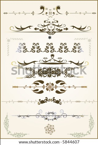 lots of design floral vector frame elements - stock vector