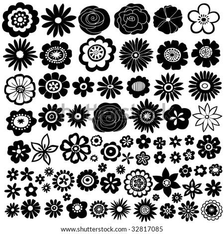lots of flowers silhouette vector illustration