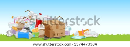 lots of garbage bags plastic waste at grass floor, many trash bag plastic, many trash bottle paper box and glass plastic straws, lots of garbage bags plastic, pile garbage waste and copy space