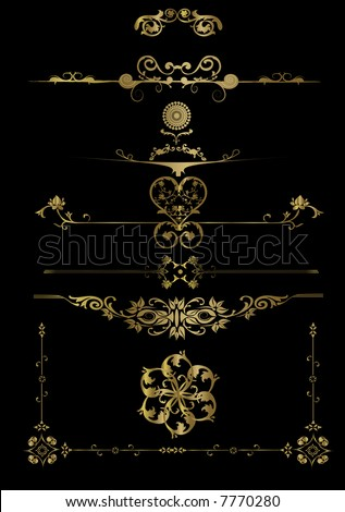 Lots of Gold Floral Frame -  vector elements