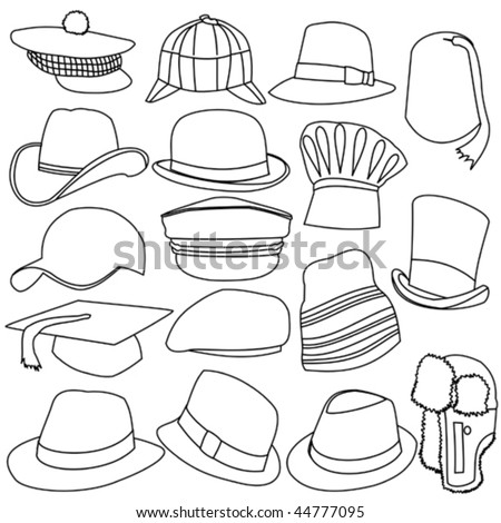lots of mens hats line style