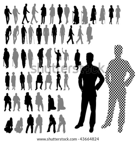 Lots of People Line Silhouette 2 Style Set