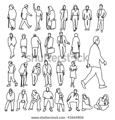 Lots of People Line Style Drawing