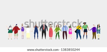 Lots of people standing in line and holding hands together. Leaving together, working together, help and support idea. Flat design human's characters in colourful clothes.