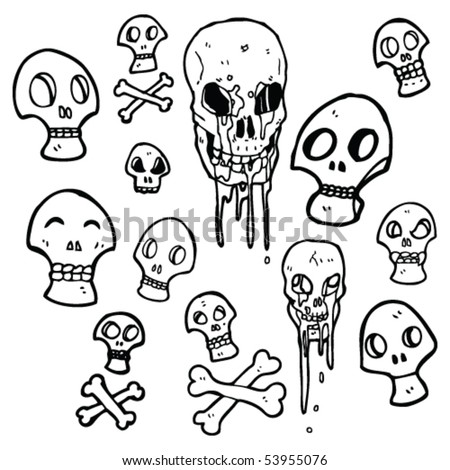 stock vector lots of skull drawings