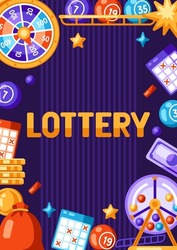 Lottery and bingo frame. Concept for gambling or online games.