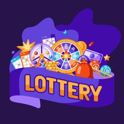 Lottery and bingo illustration. Concept for gambling or online games.