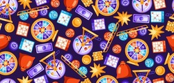 Lottery and bingo seamless pattern. Icons of gambling or online games.