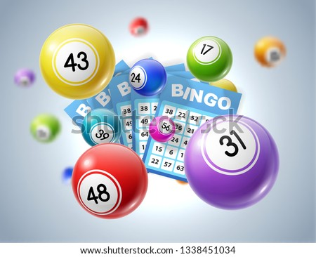 Lottery balls and tickets 3d vector illustration of lotto, bingo or keno gambling sport games. Colourful balls and betting slips with numbers, gaming industry and casino advertising design
