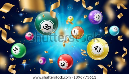 Lottery balls 3d vector bingo, lotto or keno gambling games. Gaming leisure activity recreation, lottery raffle, colourful spheres with lucky numbers of winning combination falling with gold confetti.
